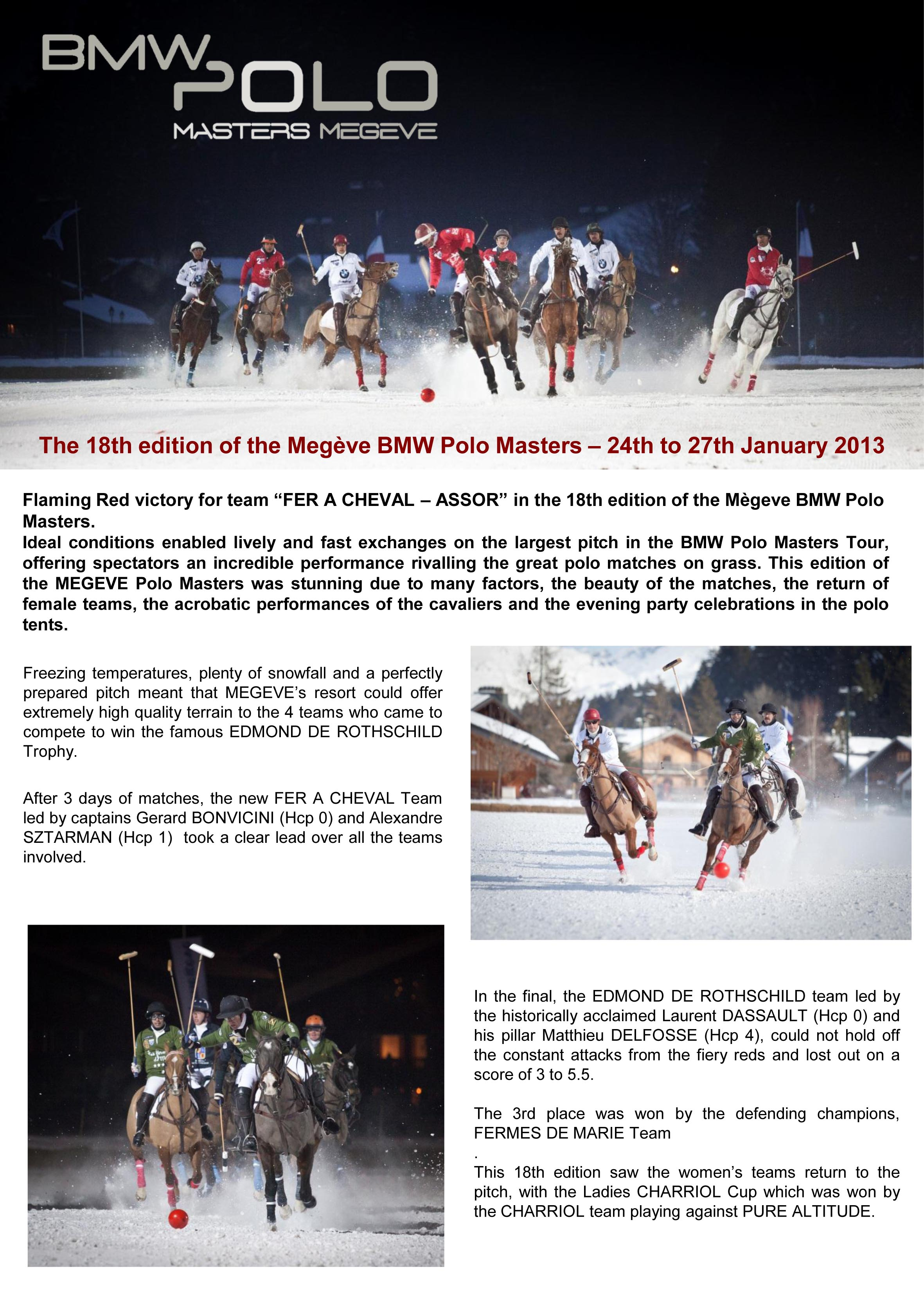 18th edition of the Megève BMW Polo Masters - 24th to 27th January 2013